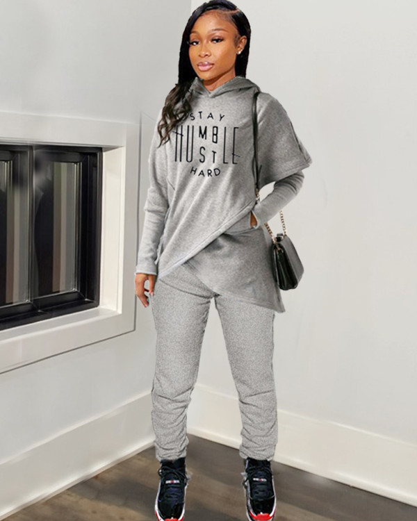 Spring Letter Print Irregular Hoody and Pants Matching Set