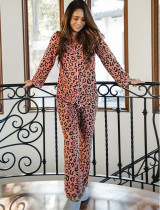 Ensemble pyjama avec chemisier et pantalon à imprimé léopard de printemps
