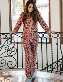 Set pigiama con camicetta e pantaloni con stampa leopardata primaverile