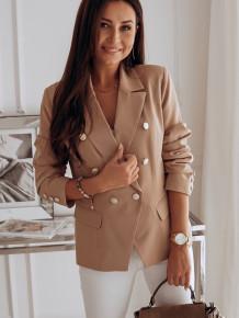 Spring Office Elegant Solid Color Button Blazer