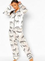 Satinhemd mit Frühlingsmuster und Hosen-Pyjama-Set