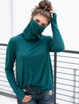 Spring Solid Color Loose Shirt with Face Cover