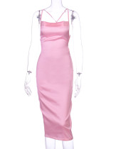 Summer Party Satin Pink Sexy Strap Midi Dress