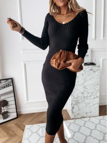 Spring Elegant V-Neck Knitting Midi Dress