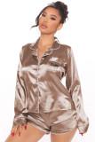 Spring Letter Print Satin Shirt and Shorts Pajama Set