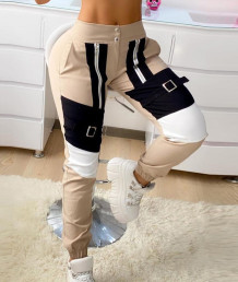Spring Casual Contrast Patch Sweatpants