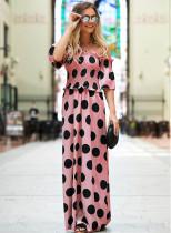 Yaz Yüksek Bel Straplez Polka Uzun Elbise