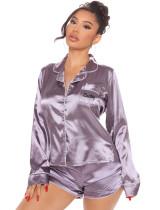 Ensemble pyjama chemise et short en satin à imprimé lettre printanière
