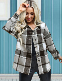 Spring Button Up Plaid Print Jacket