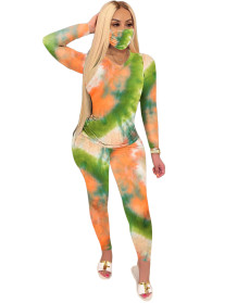 Spring Long Sleeve Tie Dye Matching Pants Set with Face Cover