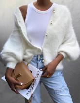 Abrigo suéter de felpa blanca de primavera con mangas pop