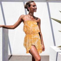 Yaz Desenli Romantik Kısa Fırfırlı Elbise