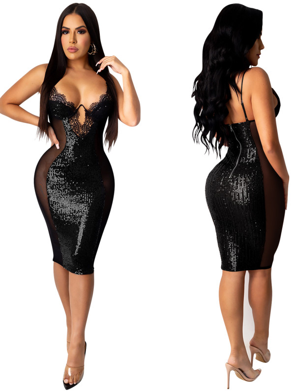 Summer Lace Upper Sequins Patch Strap Club Dress