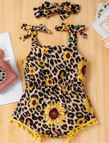 Baby Girl Summer Leopard Print Rompers with Matching Headband
