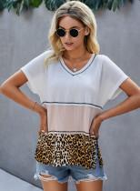 Summer Contrast Leopardenhemd mit seitlichem Schlitz und V-Ausschnitt