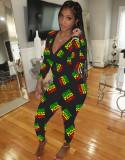 Bleib zu Hause Niedlicher Print Onesie Jumpsuit Pyjama mit V-Ausschnitt