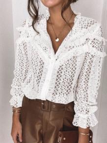 Blusa elegante de manga larga de encaje blanco de primavera