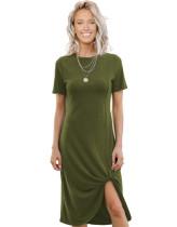 Summer Solid Color Unregelmäßiges Hemdkleid mit O-Ausschnitt