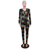 Stay Home Cute Print V-Neck Onesie Jumpsuit Pajama