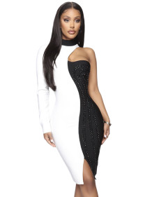 Party White and Black Contrast Dress with Single Sleeve