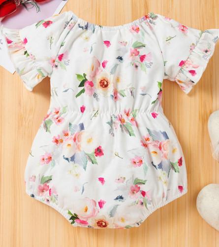 女の赤ちゃんの夏の花のロンパース