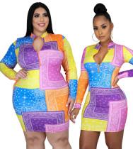 Büyük Beden Baskı Uzun Kollu Renkli Bodycon Elbise
