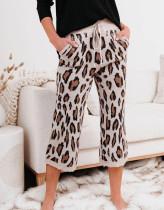 Pantalones de punto con estampado de leopardo Stay Home