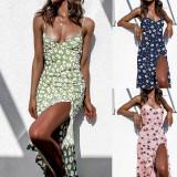 Vestido floral largo con hendidura lateral elegante de verano
