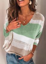 Spring Long Sleeve V-Ausschnitt Kontrast Loose Sweater