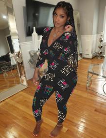 Evde Kal Sevimli Baskı V Yaka Onesie Tulum Pijama