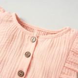 Macacão de algodão orgânico de verão para bebê com fita combinando