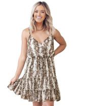 Summer Casual Snake Skin Strap Skater Dress