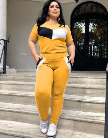 Conjunto de pantalón y camisa casual de contraste de verano de talla grande