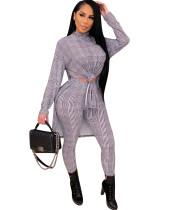 Casual Plaid Print Seitenschlitz Shirt und Hosen Matching Set