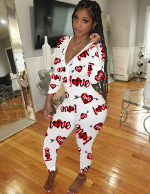 Soggiorno a casa carino stampa scollo a V tutina tuta pigiama