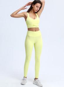 Yaz Sporları Fitness Yoga Sade Yelek ve Yüksek Bel Tayt Seti
