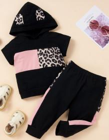 Kinder Mädchen Sommer Print Black Hoody Sweatsuit