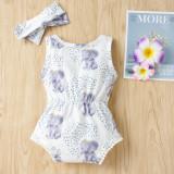 Macacão com estampa de animais de verão para bebês com tiara combinando