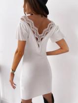 Summer Lace Patch V-Shape Back Sexy Mini Dress