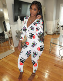 Pijama mono mono con cuello en V y estampado lindo de Stay Home