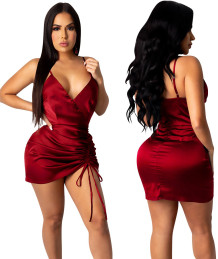 Party Sexy Strap Wrapped Satin Ruched Strings Mini Dress