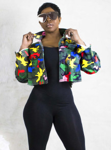 Africa Camou Print Button Up Short Jacket