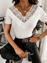 Summer Hollow Out Patch Elegantes Hemd mit V-Ausschnitt