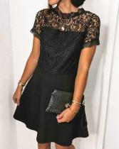 Летнее черное кружевное официальное платье с плиссированной юбкой