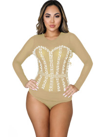 Party Long Sleeve Mesh Patch Sexy Beaded Bodysuit