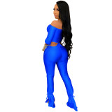 Party Sexy Strapless Crop Top and High Waist Pants Solid Matching Set