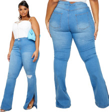Plus Size Washed Blue Slit Hem Jeans mit hoher Taille