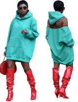 Sexy Langarm ausgeschnittenes Hoody Kleid