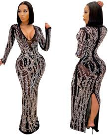 Occassional Black Beaded Slid Back V-Neck Evening Dress