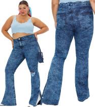 Plus Size Blue Tie Dye Schlitz Saum hoch taillierte Jeans